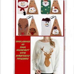 Socks & Suede Deer Front Sweatshirt Bundle 🌲⛄️❄️